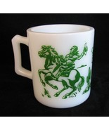 1950s Mug Cowboy Childrens Hopalong Cassidy Hazel Atlas Milk Glass - $38.00