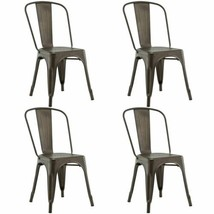 Durable Set of 4 Copper Color Stackable Tolix Style Dining Chairs - $175.99