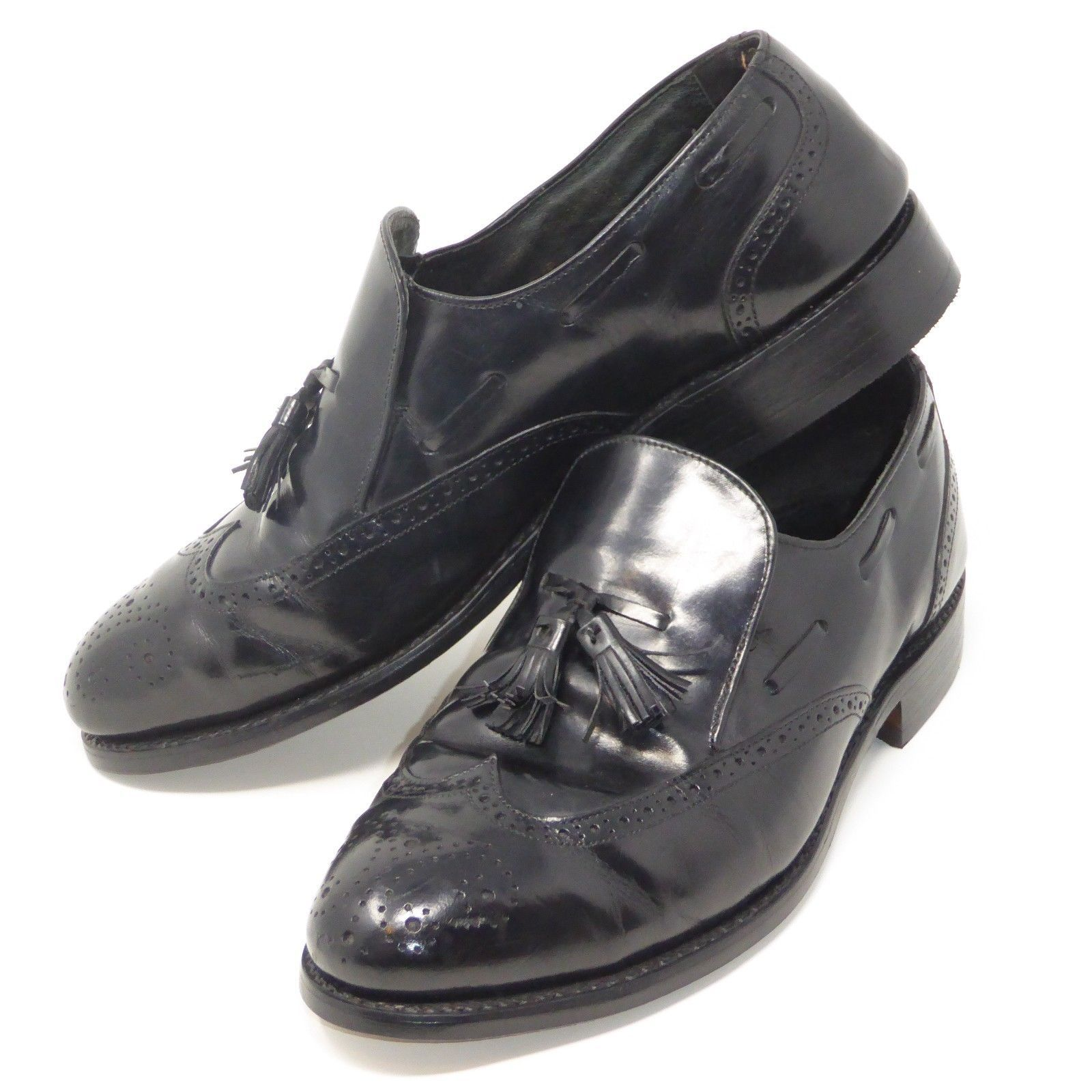 Wingtip Loafers SOLE HEEL REPLACED Oxford SlipOn Shoes 9 D Black Leather Tassel