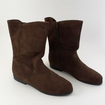 Jack Sprat Brown Suede Genuine Leather Floral Embroidered Sz 10 M Ankle Boots image 9
