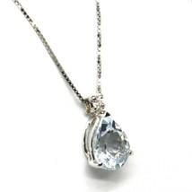 18K WHITE GOLD NECKLACE AQUAMARINE 1.00 DROP CUT & DIAMOND, PENDANT & CHAIN image 2