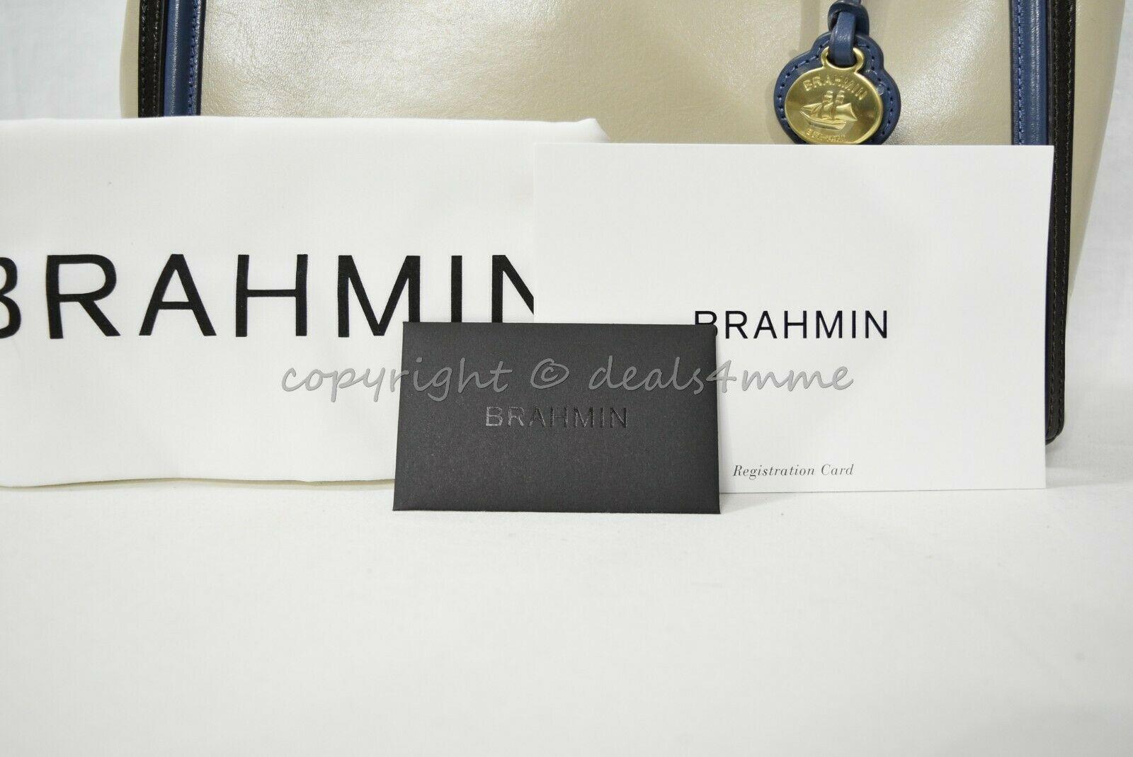 NWT Brahmin Schooner Smooth Leather Satchel/Shoulder Bag in Sand Westport image 12