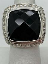 David Yurman 925 Diamonds 20mm Black Onyx Albion Ring Sz 7 - $581.88