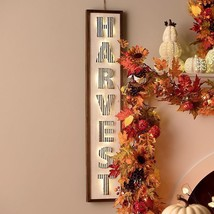 Indoor Outdoor Lighted Harvest Sign Wall Plaque Fall Autumn Decoration - $89.05