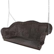 Hand Woven Resin Wicker Outdoor Porch Swing, Dark Brown - $350.20