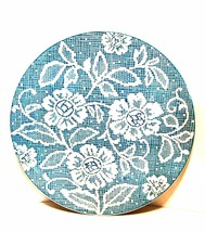 Vintage Ideal Ironstone China Cake Plate Blue White Flower Doily Pattern... - $34.64