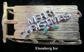 Vintage EISENBERG ICE Merry Christmas Sled Sleigh Brooch Pin - $19.79
