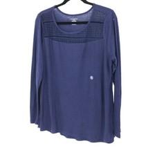 Lane Bryant Womens Sz 14 / 16 Crochet Lace Yoke Long Sleeve Knit Top Blue Gauzy  - $23.36