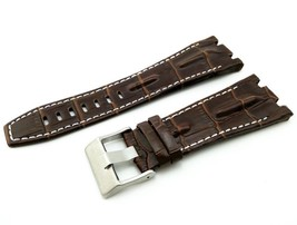 28mm Brown/White Real Leather Watch Strap For Audemars Piguet Royal Oak ... - $41.94