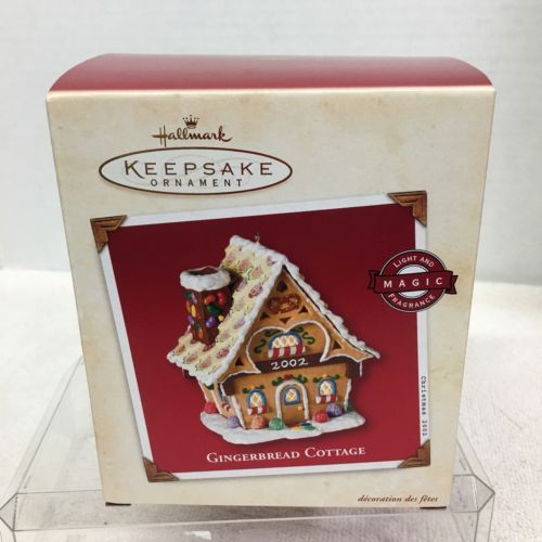 Primary image for 2002 Gingerbread Cottage Light Hallmark Christmas Tree Ornament MIB Price Tag H5