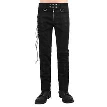Punk Men Black Pants Gothic Zipper Bandage Motorcycle Trousers Pants Side Lace-u - $63.24