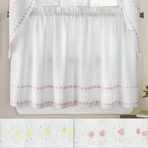 "Daisy Mae Floral Kitchen Window Curtain Tier Pair 24""x56"" - $16.49"
