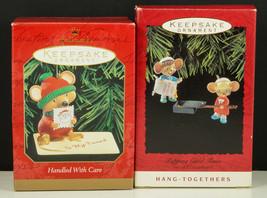 Hallmark Ornaments Popping Good Times Popcorn & Handled with Care Mice NIB - $13.95