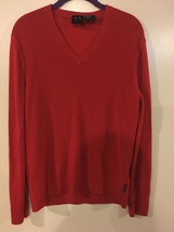 Men's Armani Exchange, 100% Merino Wool, Red V-Neck Sweater, Size XL, Li... - $24.99