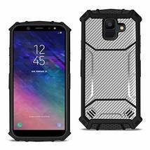 Reiko Samsung Galaxy A6 Carbon Fiber Hard-Shell Case in Gray - $10.61