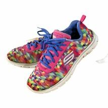 skechers Girls Youth size 4 Sneaker lite weight memory foam Multicolor L... - $16.82