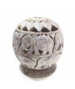 Burner for Cones and Candle Holder - Soapstone Carved Tea-Light Ball - E... - $26.32