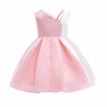Sample One Shoulder Pink Satin Girls Party Gowns Sexy Mini Flower Girls Dresses image 5
