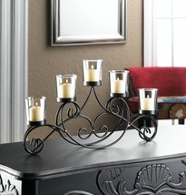 Elegant IRON WAVES Candle Stand Black 5 Cup Candelabra - $23.19