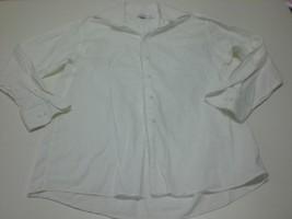 M4871 Mens Calvin Klein White Cotton Button Up Dress Shirt Large/16 32/33 - $28.96