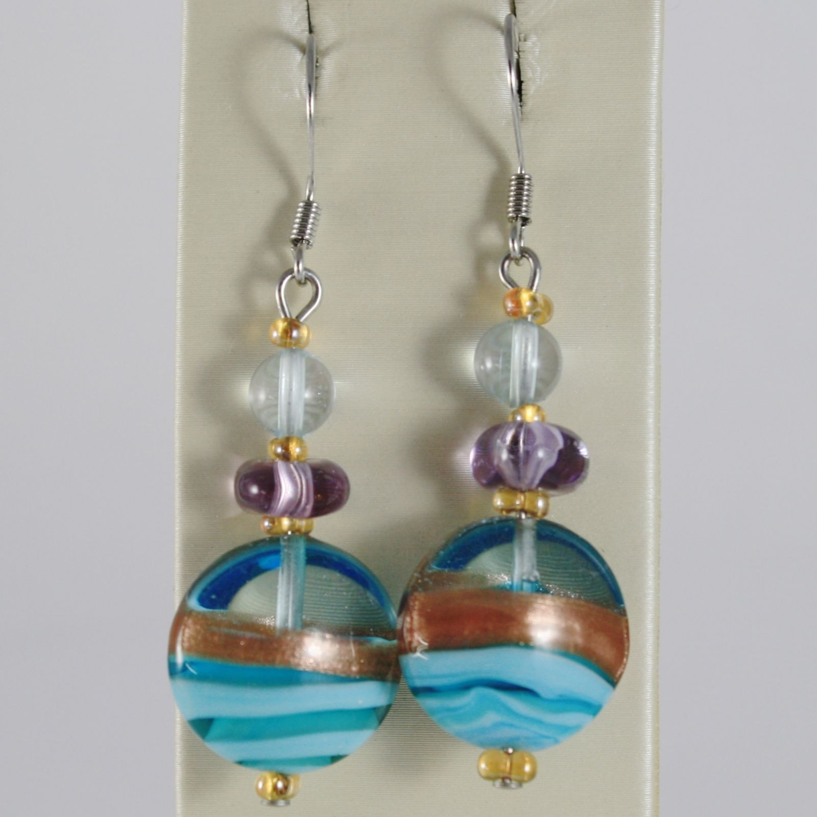 EARRINGS ANTICA MURRINA VENEZIA WITH MURANO GLASS BLUE PURPLE YELLOW OR343A07