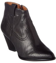 Frye Women's Reina Black Leather Western Ankle Bootie 3479257-BLK NIB