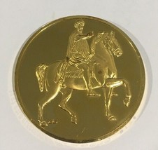 24k Gold On Sterling Silver Marcus Aurelius Medal Coin - $160.00