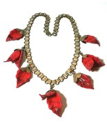 VINTAGE UNSIGNED MIRIAM HASKELL RED ART GLASS LEAVES BOOK CHAIN NECKLACE - $950.00
