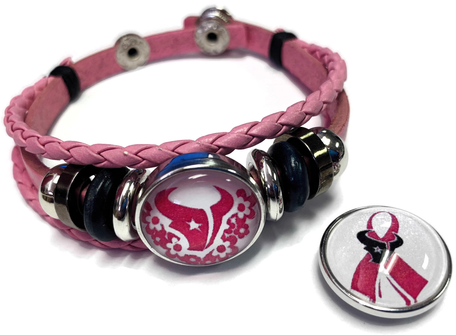 Breast Cancer NFL Houston Texans Pink Leather Bracelet W/2 Snap Jewelry Charms image 2