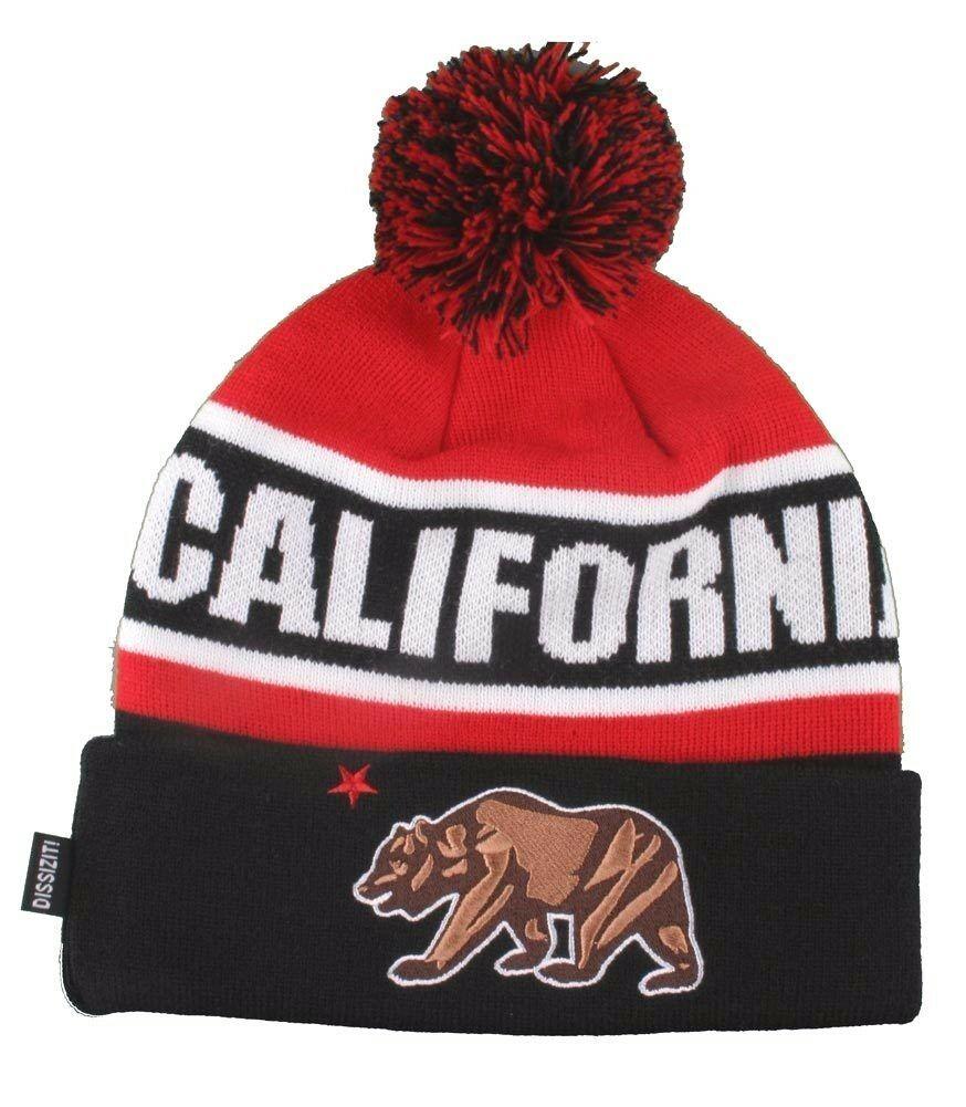 Dissizit! Cali Bear California Red Black Pom Beanie Slick LA Compton Winter Hat