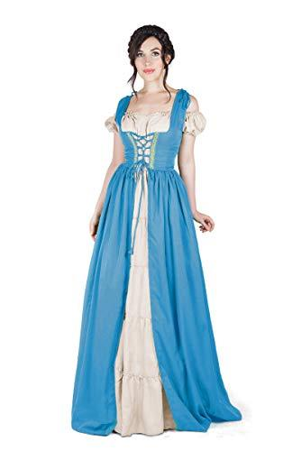 Boho Set Medieval Irish Costume Chemise and Over Dress (S/M, French Blue)