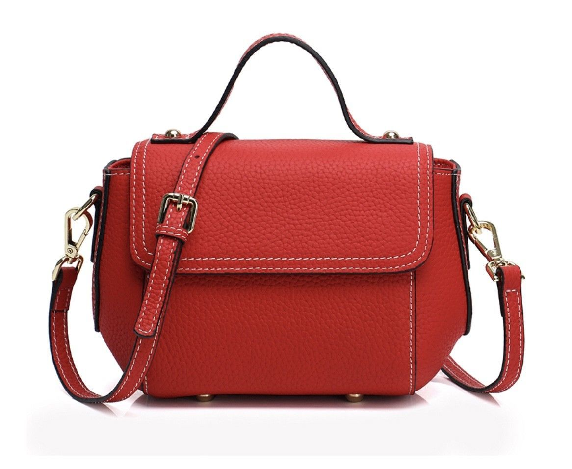 New Pebbled Italian Leather Top Handle Satchel Cross-body Shoulder Bag 2665