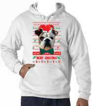 Christmas British Bulldog - New Cotton White Hoodie - $38.08