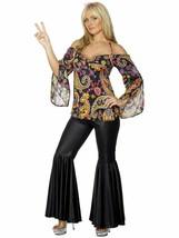 Smiffys Hippy Años 60 70 Disco de Campana Pantalones Adulto Mujer Disfraz - $44.00