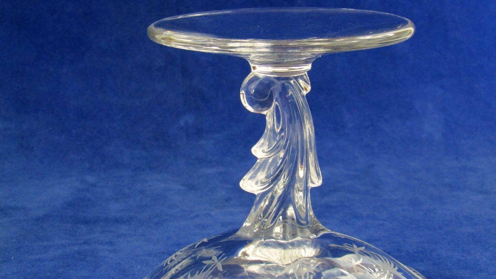 Elegant Fostoria Glass Company Crystal Baroque Compote Lido Etch  c.1937