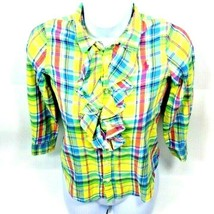 Girls Shirt Ralph Lauren Ruffle Size 7 Yellow Green Blue Red Plaid - $9.99