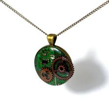 Steampunk Circuit Board Necklace, circuit board... - $25.00