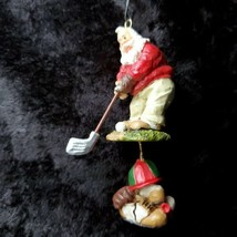 Santa Claus Golfer Christmas Ornament Cap Shoes Tees Ball Holiday Merry - £9.16 GBP