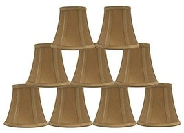 Urbanest Set of 9 Gold Silk Bell Chandelier Lamp Shade, 3-inch by 5-inch by 4.5- - $49.49