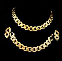 Vintage Chain Parure/ huge chain necklace / Large gold bracelet / pierced earrin - $125.00