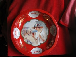 Coca Cola Beautiful Red & Gold Tin Bowl Victorian Lady Style - $9.46