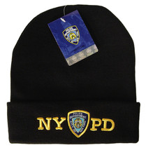 NYPD Beanie Knit Hat Cap Badge Decal Patch Gear Blue Uniform Womens Mens Apparel - $14.99
