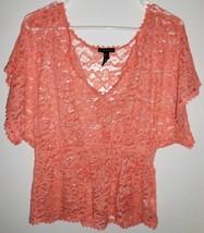 FANG Shirt LARGE Orange Sheer Lace V-Neck Short Sleeve Top Women's - $16.92