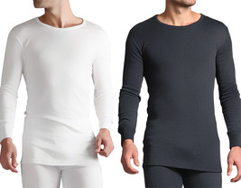 Heat Holders - Mens Grey White Cotton Thermal Underwear Long Sleeve Vest... - $20.08