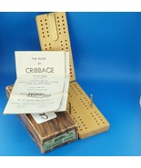 Horn No. C-82 Wood Travel Cribbage Board Metal Pegs Foldable 1941 Made I... - $17.99