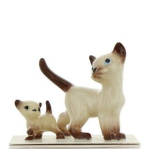 Hagen Renaker Miniature Cat Siamese Papa and Kitten Walking Ceramic Figurines