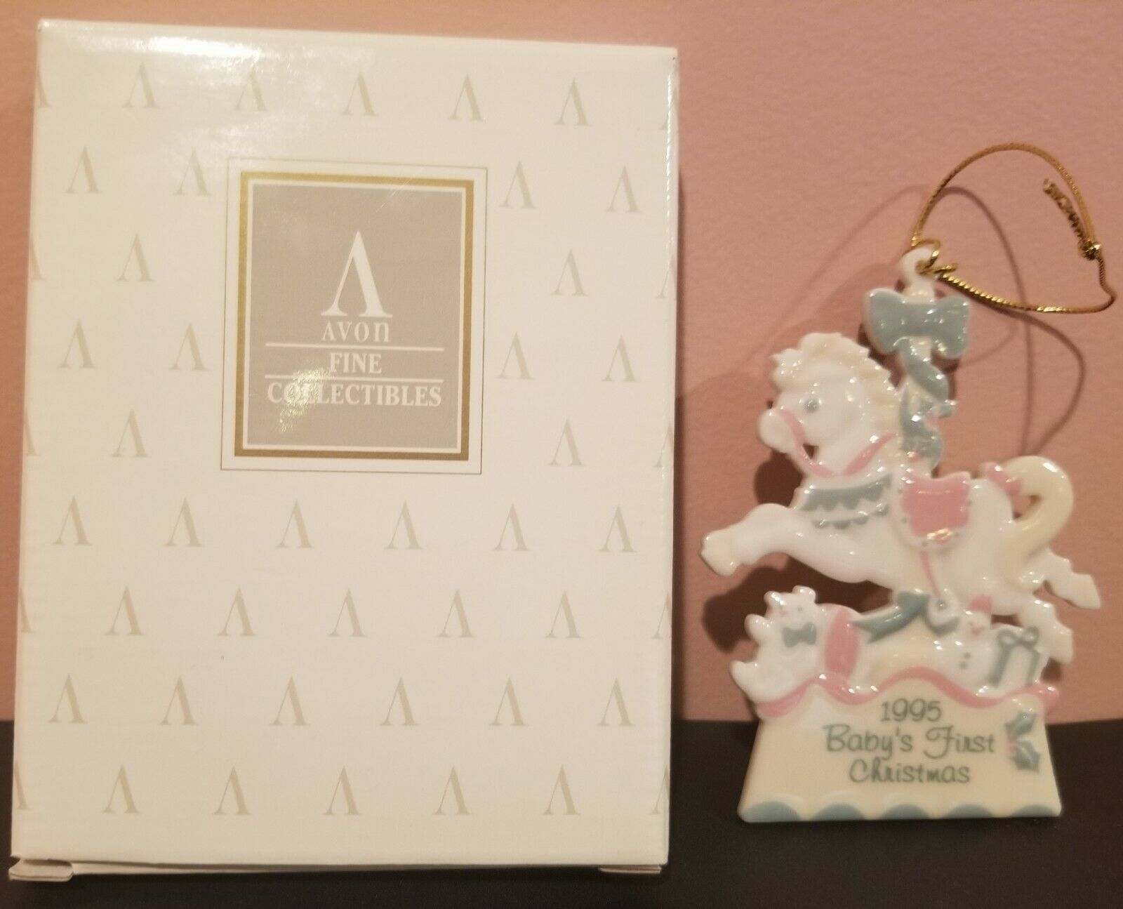 "Avon 1995 First Christmas Porcelain Ornament - ""Baby's First Christmas"""