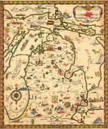 """23""""x27.5"""" Map the Commonwealth of Michigan Wall Art Poster Print Vintage History - £20.10 GBP"""