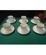 Great DEMITASSE Set 6 CUPS & SAUCERS Made in China-Gold Trim - $8.72