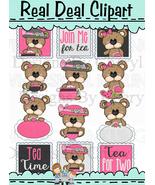 Big Eye Bear Tea Time Clip Art - $1.25